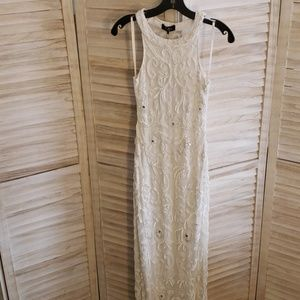 NWT, Ivory Parker Black Beaded Gown